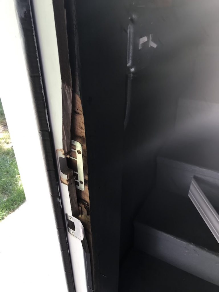 Busted door frame